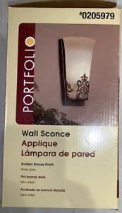 Portfolio 5.25-in W 1-Light Golden Bronze Pocket Hardwired Wall Sconce 0205979
