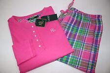NWT RALPH LAUREN Size Med Women's L/S Pink Tartan Plaid 2 Piece Pajama Pant Set