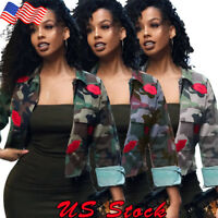 Plus S-3XL Women's Camouflage Military Army Short Shirt Jacket Outwear Coat Tops
