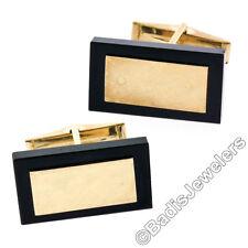 14k oro amarillo rectangular corte ÓNICE NEGRO Florentine ACABADO Pivote