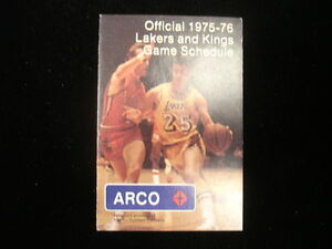 1975-76 Los Angeles Lakers & Kings Pocket Schedule