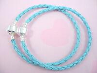 10pcs Sky Blue Charm Leather Bracelets Fit European Beads 20cm P11-9