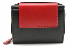 Girls Black & Red Mini Ti-Fold Wallet,Purse,Zipper Coin Pouch 7007 Cow Leather