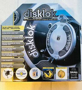 Disklok Steering Lock Small - Silver with Three keys & steering wheel cover