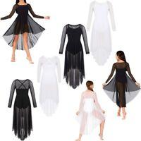 Girls Leotard Lyrical Ballet Dress Dance Gymnastic High-low Hem Skirt Costume