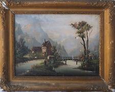 Tableau plein XIX° siècle Paysage lacustre Montagne + cadre pour restauration