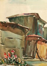 Vintage impressionist watercolor painting landscape old house