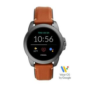 Mens Smartwatch FOSSIL FTW4055 Leather Brown GEN 5E NEW COLLECTION