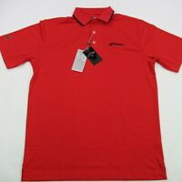 Callaway Mens Golf Polo Shirt Red Short Sleeve Collar Stripes Medium NWT