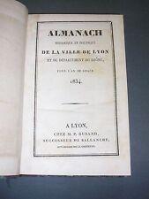 Lyon Almanach historique et politique pour l'an de grace 1834 reliure