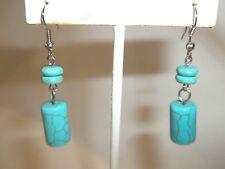 GREAT DEAL SHARP Southwest Turquoise & Silver Dangle Pierced Earrings.....NICE