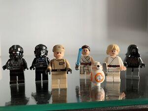 Lego Star Wars Minifigs Imperial Officer, Tie Pilot, Rey BB-8, V Wing Pilot Luke