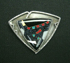 """F. Kite"" sterling & enamel pin/pendant  /  modern studio jewelry"