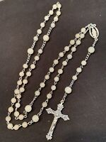 Rosary Silver Tone Frosted Lucite Beads Catholic Religious Crucifix Vintage