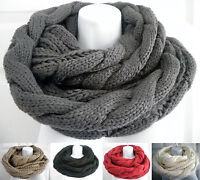 Women Men Winter Warm Infinity Circle Cable Knit Cowl Neck Long Scarf Shawl Wrap