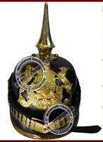 Leather German Prussian Pickelhaube Helmet WW2 WW1 Spiked Officer Costume Helm