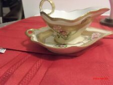 Limoges Hand Painted Antique LRL Signed Gravy Bowl and Spill Tray
