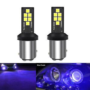 A1 AUTO 2x BAY15d 1157 LED Bulbs Blue Purple Bright SMD 3030 Turn Signal Light