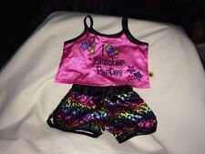 Build a Bear Multi-Color/Black 'I Heart Slumber Parties' PJ Top and Shorts