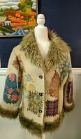Radzoli Faux Patchwork Boho Hippie Fur Jacket Coat Sz Large L