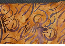 Hoffman Fabric: amber Batik hand painted. brown copper purple swirls cotton sew