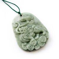 Natural Jade Jadeite Happy Lucky Pixiu Coins Amulet Pendant