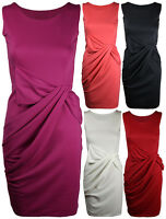 Ladies New Sleeveless Pleated Bow Womens Gathered Ponte Shift Dress Size 8 - 14