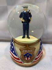 "POLICE Person US Flag 6"" Musical Snow Globe Berkeley Designs"