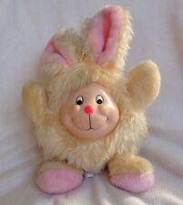 Vintage MTY International Plush Bunny Rabbit Plush Rubber Face Yellow Pink Toy