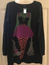 New Verve Ami Halloween Sweater Black $48 Sexy Green Witch Body Novelty Size M