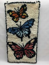 Butterfly Latch Hook Rug Wall Hanging Complete 15 X 29 Vintage