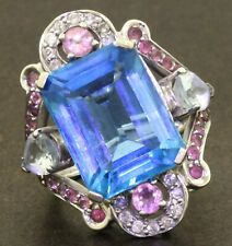 14K WG 11.96CT diamond topaz tourmaline aquamarine cluster cocktail ring sz 7.25