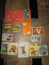 Spirou-Lot diversifié-Ancien jeux de cartes,Pins,figurines mini,stickers...