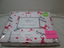 Lilly Love Collection PARIS JE'TAIME Twin Sheet Set ~ Pink, Grey, Coral Poodle