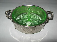 Divided Green Glass Serving Dish with Embossed Metal Holland Ship Forman Bros NY