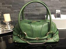 GUCCI Tasche übergroße Horsebit Schnalle echt Leder grün