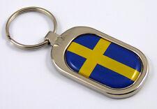 Sweden Flag Key Chain metal chrome plated keychain key fob keyfob Swedish