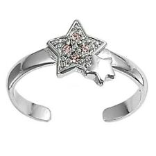 mm Solid Sterling Silver 925 Jewelry Adjustable Star Toe Ring Face Height 8