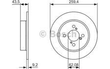 BOSCH Juego de 2 discos freno Trasero 259mm SUZUKI SWIFT 0 986 479 792