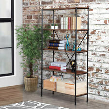 Wood Shelf 5 Tier Display Stand Bookshelf Kitchen Storage Unit Rack Metal Frame