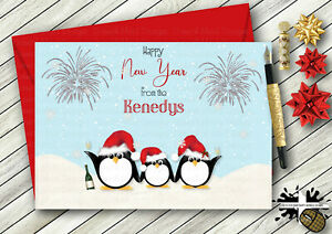 PERSONALISED GEM DETAIL PENGUIN FAMILY HAPPY NEW YEAR CARD SON  DAUGHTER FRIEND