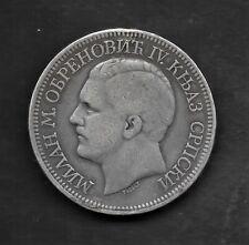 1879  SERBIA 5 DINARA PRINCE MILAN   SILVER COIN KM# 12 Nice patina.