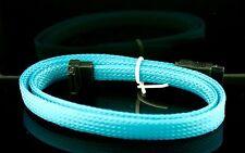 """2x Premium Blue Braided Nylon 20"""" Serial ATA SATA  DATA 6GBs Cable"""