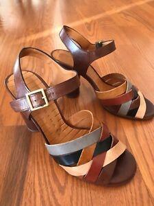 Chie Mihara Anthropologie Vaito Sandals, Brown-multi, US6, EU36, Preowned, Box