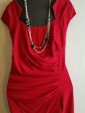Calvin klein Lined Red Dress Size 16W Necklace Sold Separately