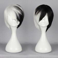Women Cruella Deville Cosplay Wig Black White Synthetic Short Bob Wig