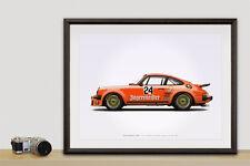 Porsche Turbo RSR Type 934 Jägermeister illustration poster, print 18 x 24 inch