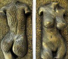 Sexy Female Nude Tattooed Torso Erotic Wall Mount Brass Sculpture Home Decor