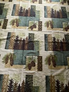Lodge Shower Curtain Rustic Mountain Cabin Pine Trees Pine Cones Bathroom Decor