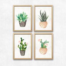 Bild Set Kaktus Kunstdruck A4 Wandbild Dekoration Blumen Pflanzen Grün Geschenk